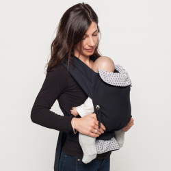 Porte-bébé Mei-Tai Physiologique Fleurs Noires 3.5kgs-15kgs