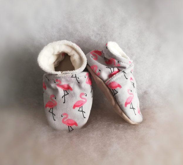 chaussons bébé Flamands roses