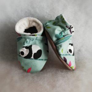 Chaussons bébé Pandas Verts