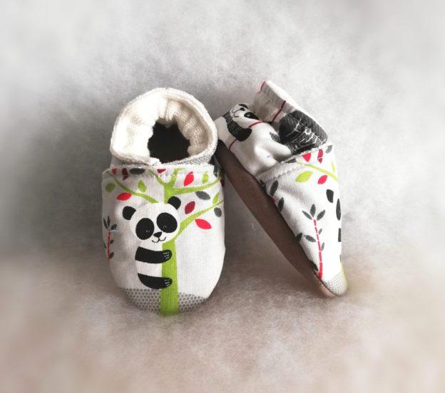 Chaussons bébé Pandas gris