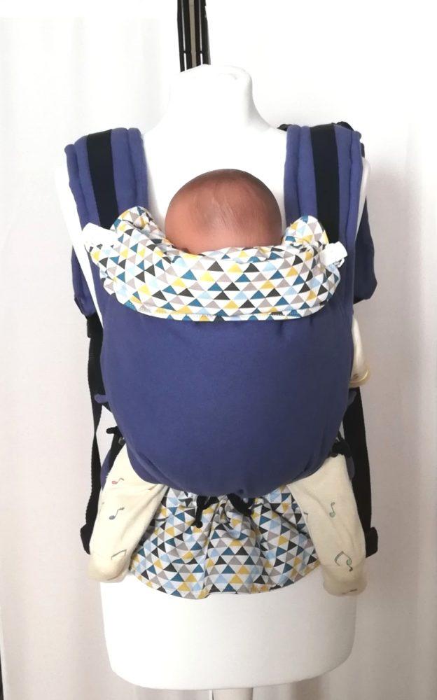 Porte-bébé physio Triangles Bleu Denim