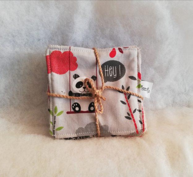 Lingettes bébé lavables Pandas Gris